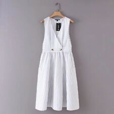 New Womens Decoration Pockets Sleeveless V Neck Striped White Vest Dress