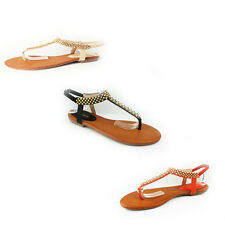 WOMENS LADIES SUMMER BEACH STRAPPY FLAT FLIP FLOPS SANDALS SHOES SIZE 3-8