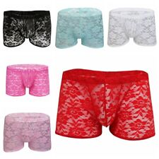 Sexy Men's Sheer Lace Boxer Briefs Shorts Sissy Pouch Panties Underwear Shorts