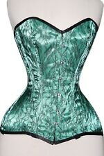 Green Satin Real Steel Bones Lace up Back Front Busk Full Bust Corset 2XS~7XL