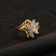 White Crystal Stainless Steel Luxury Zircon Ring 18K GP Ring Size 6/7/8/9