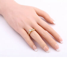 White Round Crystal Six-jaw Ring Jewelry Free Shipping 18K GP Ring Size 6/7/8/9