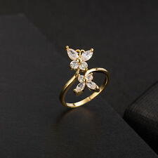 White Crystal Stainless Steel fly exquisite zircon Ring 18K GP Ring Size 6/7/8/9