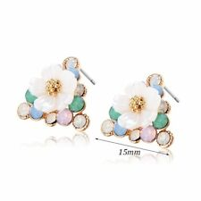 Womens Retro CZ Flower Stud earrings Triangle Triangle Yellow Gold Filled