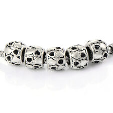 5pcs silver plated Heart Crystal charms beads for bracelets womens
