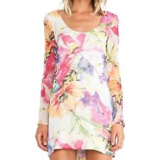 Women Floral Printed Crew Neck Long Sleeve Double Layer Casual Mini Dress