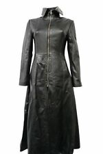 Ladies Vampire Black Goth Red Flair Lining Full Length Rock star Leather coat