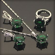 Beautiful GREEN EMERALD  Set 925 Silver Necklace Pendant Earrings Ring