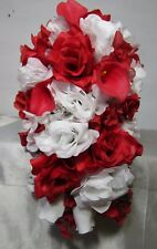 Red White Rose Calla Lily Cascading Wedding Bouquet & Boutonniere