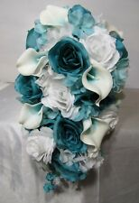 Turquoise White Rose Calla Lily Cascading Wedding Bouquet & Boutonniere