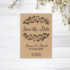 PERSONALISED SAVE THE DATE CARDS INVITATIONS MAGNETS WEDDING CARD RECYCLED BROWN