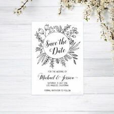 PERSONALISED SAVE THE DATE CARDS INVITATIONS MAGNETS WEDDING RECYCLED CARD WHITE