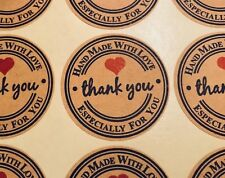 Handmade with love stickers, thank you labels. Gift Food Kraft Stickers. Labels