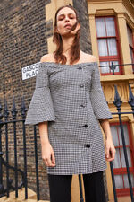 Topshop Gingham Check Blazer Button Dress Off the Shoulder UK 8 10 16 / 36 38 44