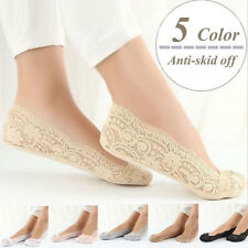 Hot Womens Cotton Blend Lace Antiskid Invisible Low Cut Socks Toe Ankle Sock