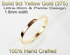 9ct 375 Solid Yellow Gold Ring Wedding Friendship Friend Flat Band 1.6mm