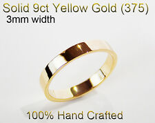 9ct 375 Solid Yellow Gold Ring Wedding Engagement Friendship Flat Band 3mm