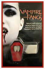HALLOWEEN VAMPIRE FANGS WHITE CAP TEETH HORROR WITH PUTTY ADHESIVE FANCY DRESS