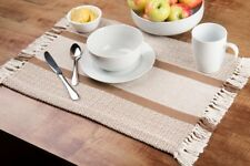 Woven Cotton Placemats Set Of 4 Tan Country Kitchen Dining Table Mats Washable