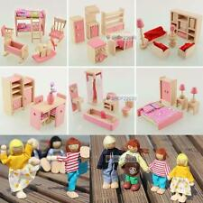 Wooden Dolls House Furniture Miniature 6 Room For Kids Children Toy Gifts Hot FE
