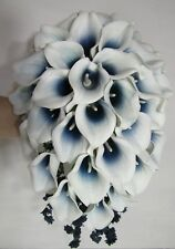 Navy Blue Ivory Calla Lily Cascading Bridal Wedding Bouquet & Boutonniere