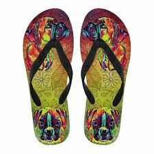 Boxer Dog Colorful Flip Flops Custom Print
