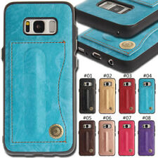 For Samsung Smartphone Protective PU Leather Soft TPU Case Stand Card Back Cover