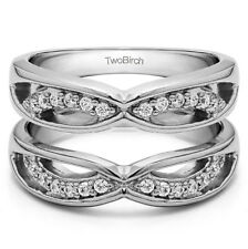 10K Solid Gold Criss Cross Anniversary Style Jacket Ring Guard (0.24ct)