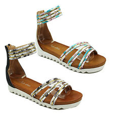WOMENS LADIES CHUNKY SOLE WEDGES STRAPPY ANKLE CUFF STRAP SANDALS SHOES SIZE 3-8