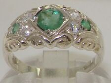 English Hallmarked Solid 925 Sterling Silver Emerald Diamond Band Ring
