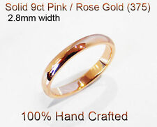 9ct 375 Solid Pink / Rose Gold Ring Wedding Engage Friend Half Round Band 2.8mm
