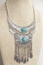 Silver Turquoise Ethnic Free Spirit Gypsy Tribal Tassel Bohemian People Necklace