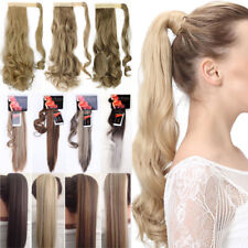 Lady Wrap around Ponytail Hair Extension Straight Wavy Bleach Ombre Real Natural