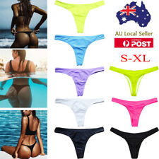 AU Sexy Ladies Swimwear Brazilian Cheeky Bikini Bottoms T-Back Thong Swimsuit