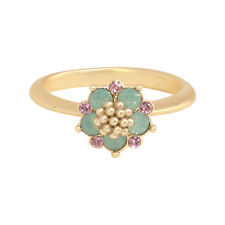 14K Gold Plated Teal Opal and Rose Flower Ring, Made with Swarovski Crystals