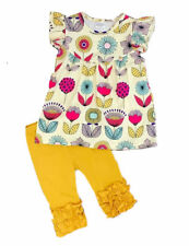 Boutique Girl's Summer Outfit Floral Top Tunic Shirt and Capri Pants Leggings