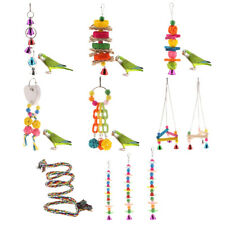 Pet Bird Bell Toys Chew Parrot Rope Hanging Swing Cage Cockatiel Parakeet Toy