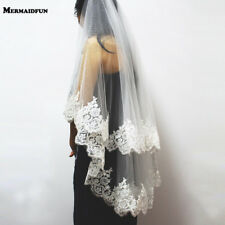 Two Layers Sequins Lace Edge Short Wedding Veil Bridal Accessories Comb Ivory