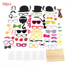 58PCS/Set Colorful Props On A Stick Mustache Photo Booth For Fun Wedding BU