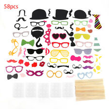 58PCS/Set Colorful Props On A Stick Mustache Photo Booth For Fun Wedding XR CP