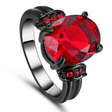 Size 7 Womans Red Ruby Black 10kt Gold Filled Engagement Wedding Ring