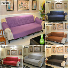 1 3 Seater Quilted Microfiber Pet Dog Couch Sofa Chair Protector Cover Slipcover