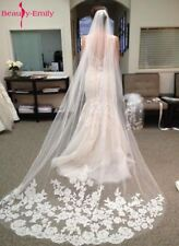Cathedral Wedding Veil Lace Edge Bridal Accessories Comb Sequins Luxury Style