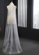One Layer Wedding Veil Cut Edge White Ivory Long Bridal Accessories Comb Elegant