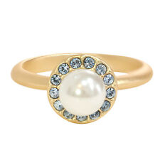 14K Gold Plated and White Glass Pearl Halo Ring, Made with Swarovski Crystals