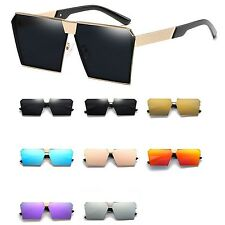 Flat Top Square Vintage Retro fashion Mirrored Mens Womens Oversized sunglasses