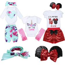 3Pcs Toddler Baby Girl Outfits Clothes Tops+Pants+Headband Party Birthday Sets