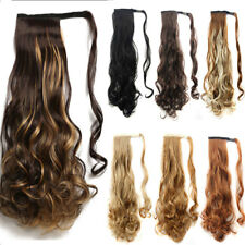 US Post Natural Clip In human Hair Extension Pony Tail Wrap Around Ponytail Fake