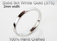 9ct 375 Solid White Gold Ring Wedding Engagement Friendship Flat Band 2mm