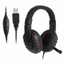 Adjustable USB Wired Stereo Micphone Headphone Mic Headset For PC Game LOT BU